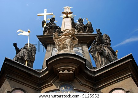 bottom view of plague pillar in Prague - stock photo