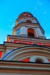 Bottom view of the bell tower . Orthodox belfry architecture