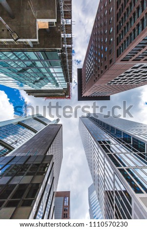 bottom view of the skyscrapers in the central business district of Frankfurt am Main. Frankfurt is the largest financial centre in Europe. #1110570230