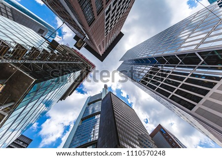 bottom view of the skyscrapers in the central business district of Frankfurt am Main. Frankfurt is the largest financial centre in Europe. #1110570248