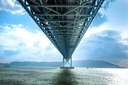 Bottom view structure under bridge of Akashi Kaikyo, suspension bridge, spanning the Seto Inland Sea from Awaji Island to Kobe, Japan