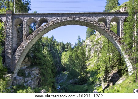 Bottom View to beautiful, traditional Viaduct in Switzerland