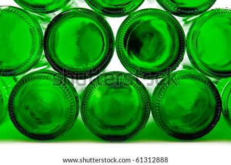 Bottoms of empty glass bottles on white background