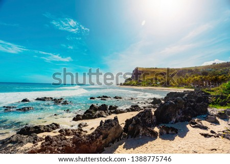 Boucan Canot Beach at Reunion Island - Popular beach for locals and tourists - touristic site #1388775746