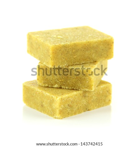 Bouillon cubes, isolated on white - stock photo