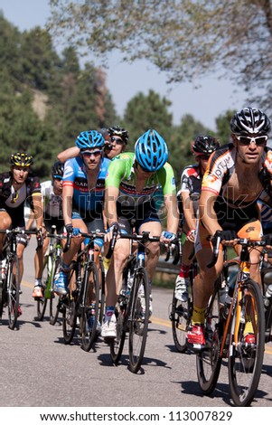 BOULDER, CO - AUGUST 25, 2012:  Cyclists compete in the 2012 USA Pro Cycling Challenge on August 25, 2012 in Boulder, CO