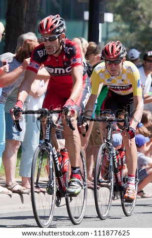 BOULDER, CO - AUGUST 25:  Retiring professional cyclist George Hincapie rides in front of BMC team mate Tejay Van Garderen on August 25, 2012 in Boulder, CO.