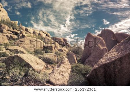 Boulder epic sky background, Arizona,USA