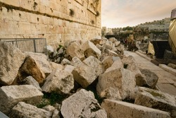 Boulders from the Roman destruction of the second Temple alongside the western wall in Jerusalem, Israel.
