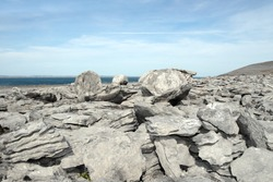 boulders in rocky landscape of the burren in county clare ireland