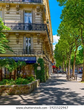 Boulevard Saint-Germain in Paris, France. Boulevard Saint-Germain is a major street in Paris. Cozy cityscape of Paris. Architecture and landmarks of Paris. Photo stock ©