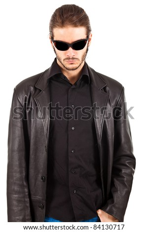 Bouncer portrait, isolated on white