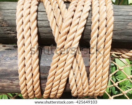 Bound to pole with rope were not