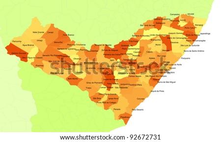 Boundaries of Alagoas State - northeast Brazil