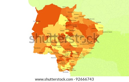 Boundaries of Mato Grosso do Sul State - midwest Brazil