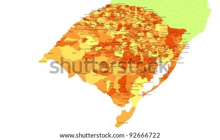 Boundaries of Rio Grande do Sul State - south Brazil