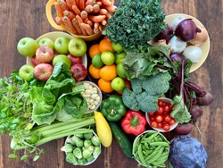 Bountiful harvest of organic vegetables