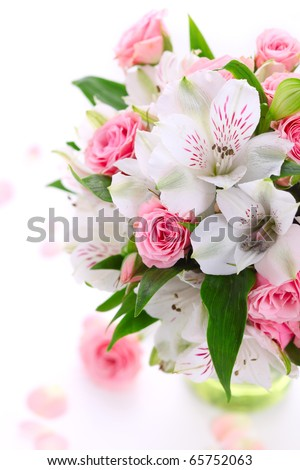 bouquet alstroemeria and rose on white isolated background - stock photo