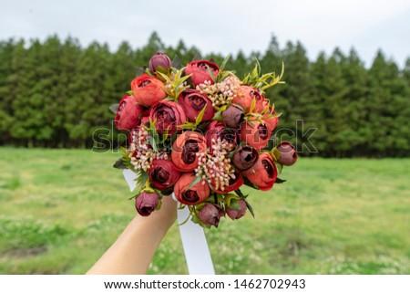 Bouquet Artificial Flowers Marriage Wedding  #1462702943
