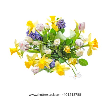 Bouquet, floral arrangement with yellow daffodils, white tulips, blue Hyacinthus orientalis and white roses, close up, isolated on white background. #401213788