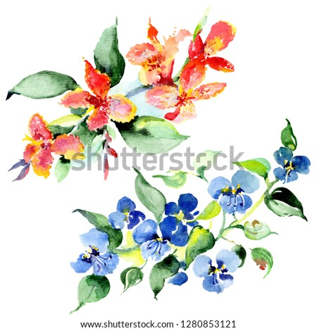Bouquet floral botanical flowers. Wild spring leaf wildflower isolated. Watercolor background illustration set. Watercolour drawing fashion aquarelle isolated. Isolated bouquet illustration element. #1280853121