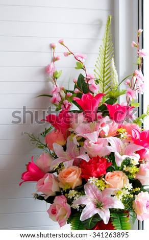 Bouquet Flower Set In Vase White Wall Background Lighting Pass
