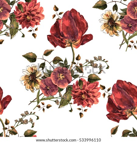 Bouquet flowers watercolor with tulip seamless pattern