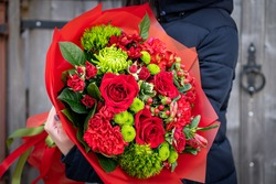 Bouquet for gift, wedding flowers, roses blossom for valentine day