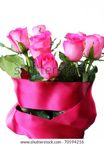 Bouquet from pink roses on a white background