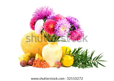 bouquet in a vase on a white background