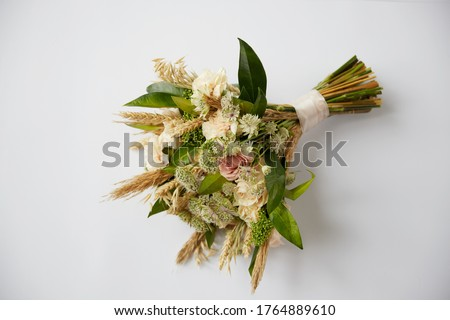bouquet in neutral colors dried flowers and fresh flowers Photo stock ©