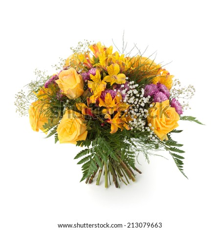 Bouquet Made Of Yellow Roses And Alstroemeria Flowers ...
