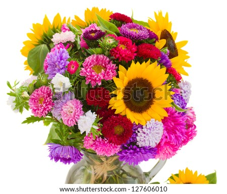 bouquet of autumn flowers  isolated on white background