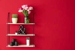 Bouquet of beautiful tulips with stylish decor on shelving unit near color wall