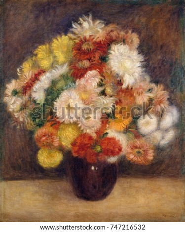 Bouquet of Chrysanthemums, by Auguste Renoir, 1881, French impressionist painting, oil on canvas
