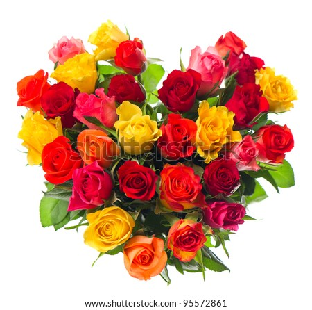 bouquet of colorful assorted roses in heart shape on white background