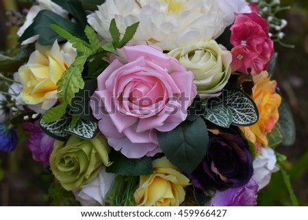 Bouquet of colorful flowers,Made from fabric or cloth. #459966427