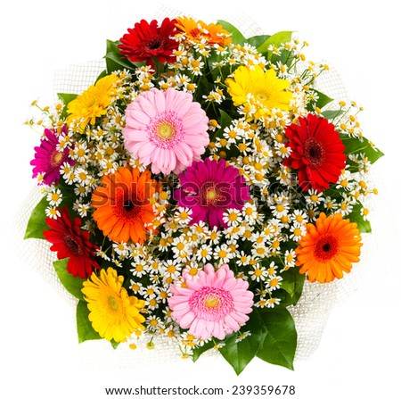 Bouquet of colorful gerberas and daisies isolated on white background