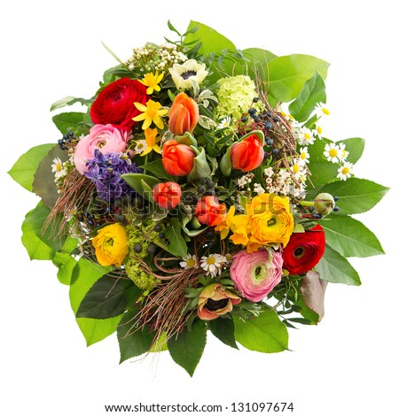 bouquet of colorful spring flowers isolated on white background. tulip, narcissus, ranunculus, hyacinth, daisy, anemone