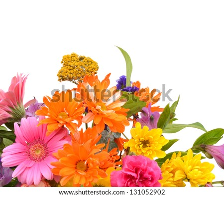 Bouquet of Dahlia flowers on white