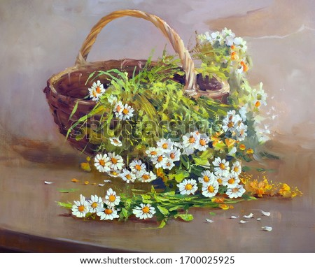 bouquet of daisies in a wicker basket on the table,oil painting, fine art, still life, basket, wildflowers, bouquet, summer, flowers