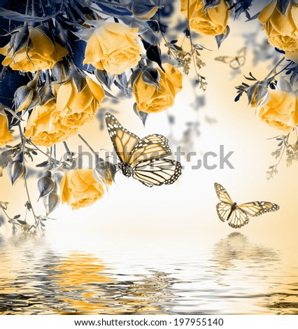 Bouquet of delicate roses and butterfly floral background