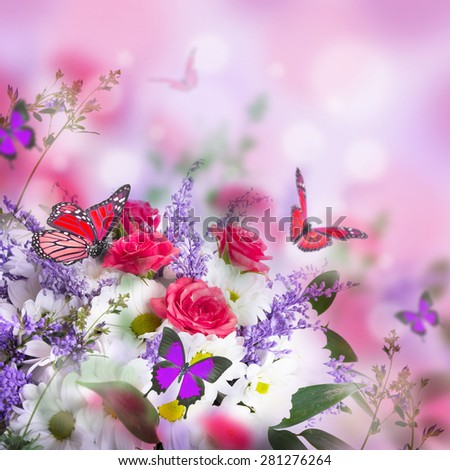 Bouquet of delicate roses and butterfly, floral background