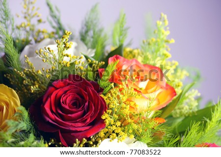 Bouquet of different color roses stock photo 77083522 for Different color roses bouquet