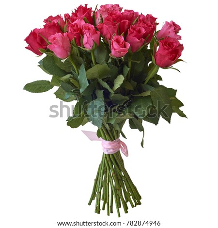 Bouquet of different flowers on a white background