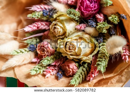 Stock Photo bouquet of dried flowers