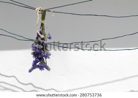 bouquet of dried flowers hanging on a rope