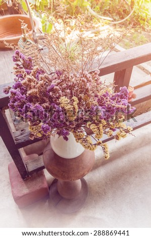 Bouquet of dried flowers in white vase decoration - Color filter effect style pictures