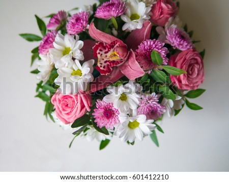 bouquet of flower isolated beautiful floral rose pink green plant vintage romantic many #601412210