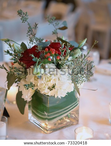Bouquet of flowers at winter christmas wedding